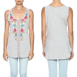 Johnny Was Embroidered Calista Shirt Tail Tank M